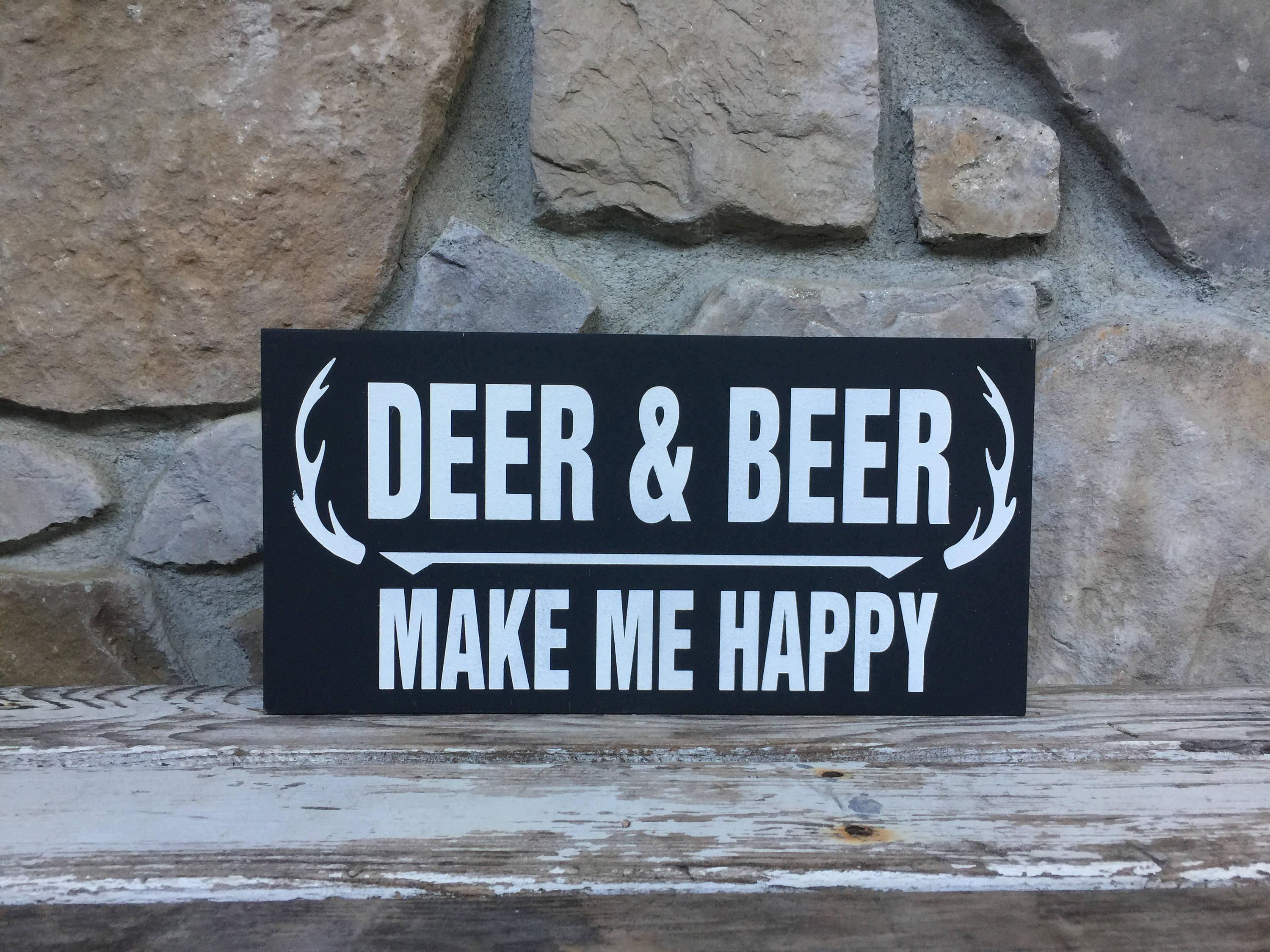 Hunters Man Cave Signs : Deer & beer make me happy wood sign gifts for him hunting