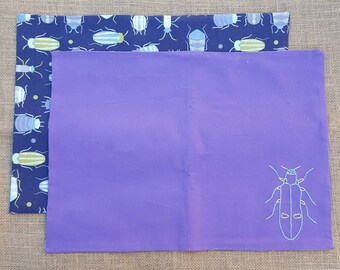2 cotton fabric beetle placemat - reversible - hand embroidered - entomology placemats - ready for your dinner table