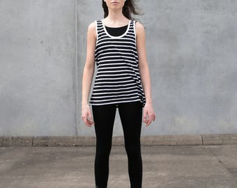 Organic Cotton Singlet - Stripe Yoga Activewear Comfortable Womens Clothing Singlet Ethical Sustainable