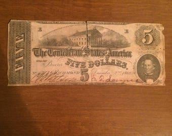 1862 Confederate Civil War five dollar bill fair condition 12/2/1862