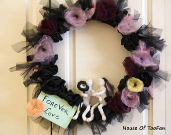 "FOREVER LOVE MUMMY Handmade Halloween Wreath Gift Organza Flowers Door Hanger Stylish Item 24""(60 cm)"