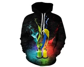 Paint Splat, Paint Hoodie, Painted Sweatshirt, Painting Clothes, Hoodie Art, Hoodie Pattern, Pattern Hoodie, Hoodie, 3d Hoodie - Style 7