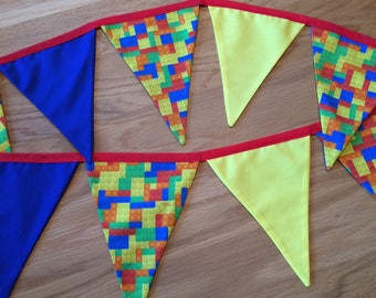 Bright Fabric Lego Bunting - 2 metres