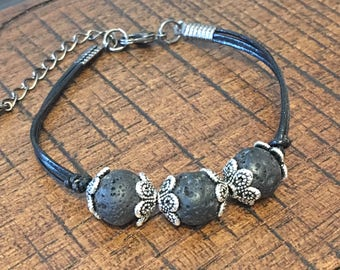 Lava Stone and Leather Bracelet