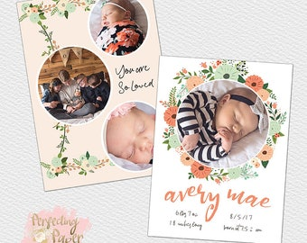 Peachy floral coral baby newborn birth announcement digital photography template custom 5x7