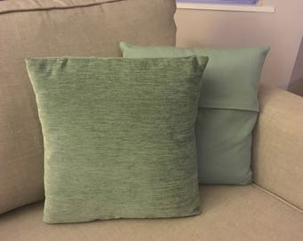 Duck Egg Chenille & Linen Contrast Scatter Cushions