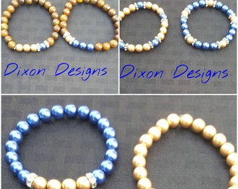 Sigma Gamma Rho Sorority * Royal Blue & Gold * Beaded Bracelets * Stretch Bracelet