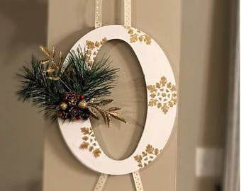 Christmas Decor White and Gold, Joy letters, wall hanging
