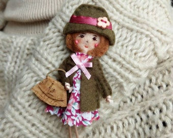 Fabric brooch doll, miniature doll, pioneer school gifts, convention gifts, gift for her, mother gift, back to school, teacher gift