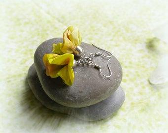 Earrings made of silk