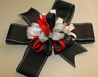 Handmade Black Bow, Korker bow red black and silver