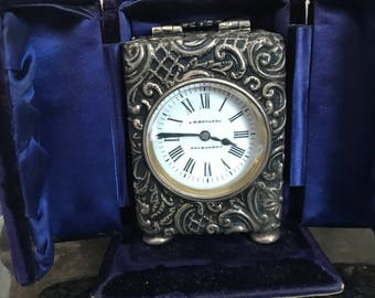 J.R.Rowland Sterling Silver Miniature Carriage Clock