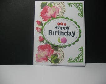 Very Pretty Rose Birthday Card, floral, Happy Birthday