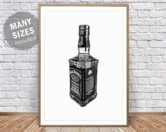 Jack Daniels Poster • Whiskey Print Jack Daniels Decor Whiskey Art Alcohol Poster Jack Daniels Party Old Fashioned Print Bar Wall Art Decor