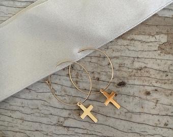 Cross/star dangle hoop earrings