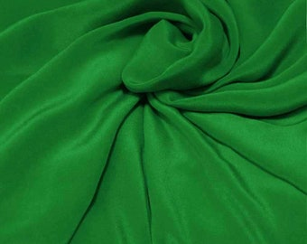 "Sample/ Yards/Meters 100% Pure Mulberry Silk Fabric Crepe De Chine 55"" /140cm wide 14momme Material Fem green Color crepe6W-14mmW"
