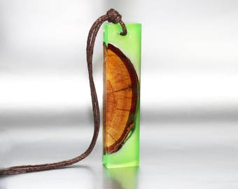 Gift For Her Green Resin Necklace Wood Pendant Gift, Jewelry Love Necklace Cute Pendant, Art Bohemian Necklace Gift Jewelry Wood Art Pendant