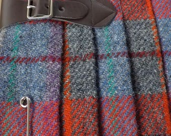 Harris tweed Kilt Style Shoulder bag with leather strap and kilt pin detail