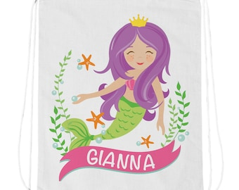 Personalized Mermaid Drawstring Bag