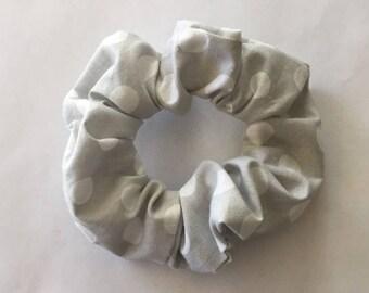 Gray and White Polka Dot Scrunchie