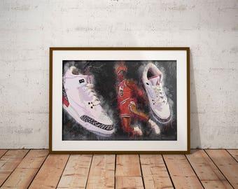 Jordan III - Jordan 3's - Air Jordan - 30th Anniversary - Michael Jordan - Poster - NBA - Dunk Contest - NBA Art - Decor - Man Cave