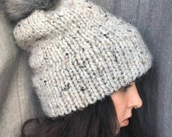 Double-Brim Slouchy Beanie   Fur Pom Pom Hat   Winter Toque