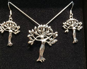 Goddess tree earring and necklace set  trade mark pieces unique design gift