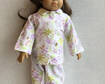 "Flannel 2 piece pajamas for 18"" dolls."