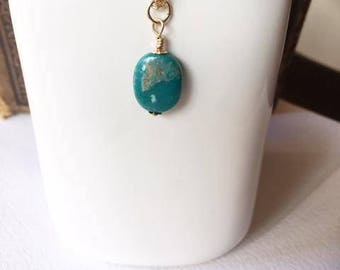 Turquoise drop, turquoise dangle, necklace add on, necklace accessory, turquoise stone, gold filled, small gift,