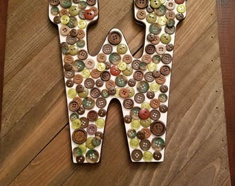 Customized button initial sign for nursery, child's room, office, or family
