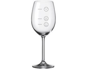 "Leonardo Wine glass with engraving ""mood glass smiley"" engraved gift"