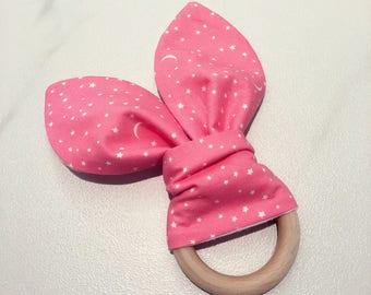 Baby Teething Ring, Pink Starry Twinkle