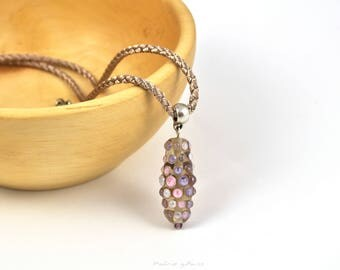 Pendant with  pink and violet  bubbles. Pink necklace. Designer jewelry. Multicolor necklace