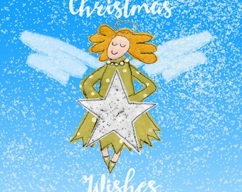 Christmas Angel textile art greeting card (XCW1)