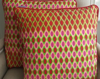 African wax print, throw cushions, Ethnic prints, African textiles, Afrocentric- Batik-Decorative cushions-bold-bright piping ATY332MAT