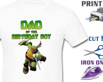 Ninja Turtles  Iron On Transfer - TMNT Iron On Transfer - Boy Birthday Shirt DIY - TMNT Birthday Shirt Diy - Instant Download -Digital Files