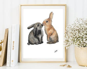 Illustration rabbits, Valentine prints, Valentine Day, watercolor, watercolor, animal prints A4, A5, A6