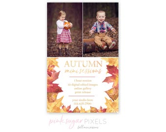 Fall Mini Session Template - Photography Marketing board - Fall Minis Psd template - INSTANT DOWNLOAD - Watercolor Fall