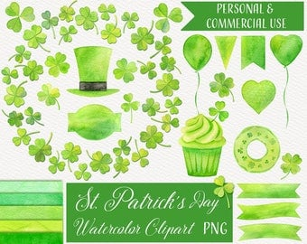 Watercolor St Patrick's Day Clipart, Watercolor Clover Wreath, Watercolor Clover Clipart, Irish Clipart, St Patrick's Day Clipart, PNG