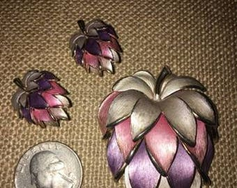Vintage Pin and Earring Set