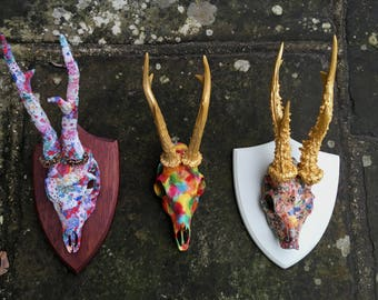Unique handcrafted colourful real deer head with gold leaf antlers modern wall art