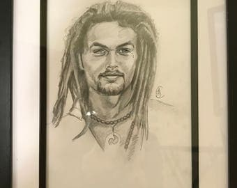 Original A3 pencil drawing of Jason Mamoa with Frame