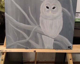 Hand painted Snow Owl Acrylic Painting