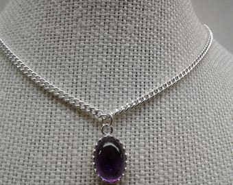 14 X 10 MM High Dome Amethyst Necklace AM-2