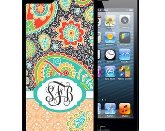 Monogrammed Rubber Case For iPhone X, 8, 8 plus, 7, 7 plus, 6s, 6s plus, 5, 5s, 5c, SE - Dark Gray Teal Paisley