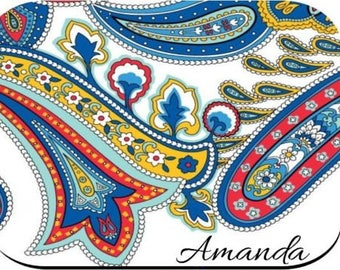 Personalized Mouse Pad - White Blue Paisley