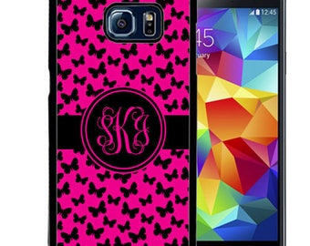Monogrammed Rubber Case For Samsung S5, S6, S6 edge, S6 Edge Plus, S7, S7 Edge,  8, 8 plus - Pink Black Butterflies