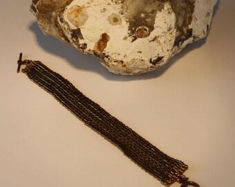 Bronze herringbone bracelet