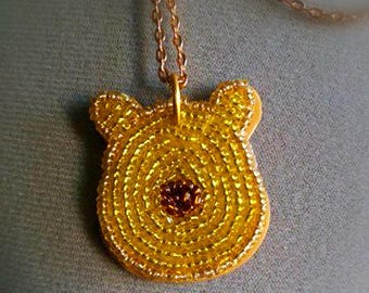 "Embroidered necklace ""Winnie the pooh"""
