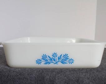 FireKing casserole dish vintage blue cornflower pattern